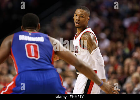 March 13, 2015 - DAMIAN LILLARD (0) looks to pass. The Portland Trail Blazers play the Detroit Pistons at the Moda - Stock Photo