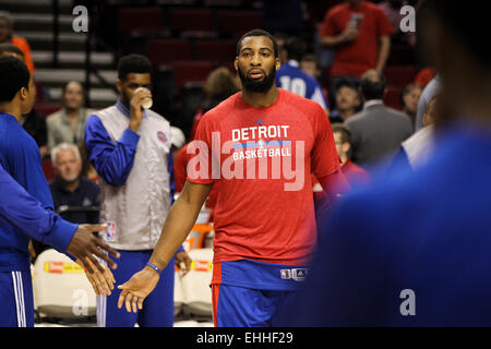 March 13, 2015 - ANDRE DRUMMOND (0) is announced during in the starting lineup. The Portland Trail Blazers play - Stock Photo
