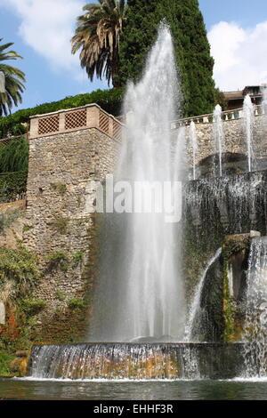 Villa d'Este fountain in Tivoli - Stock Photo