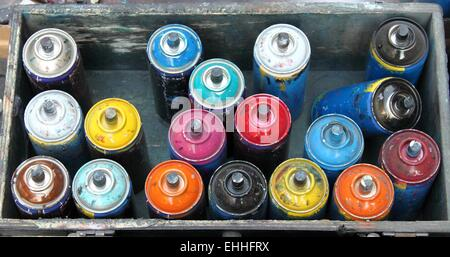 Color spray cans - Stock Photo