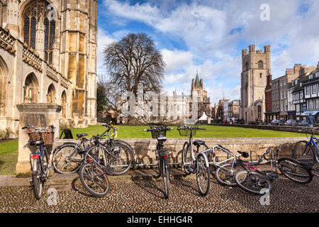 Kings Parade, Cambridge, a street scene with bicycles in the foreground, typical of the city. Great St Mary's Church, - Stock Photo