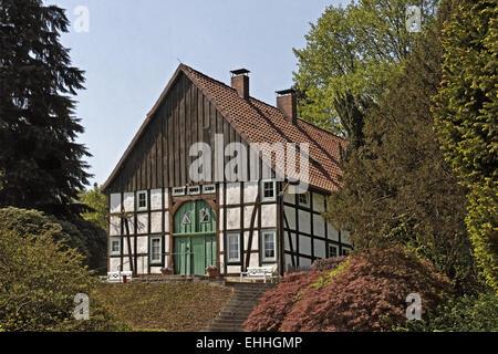 Bielefeld, half-timbered house, botanic garden - Stock Photo