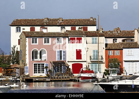 Port Grimaud, colorful houses, Cote d'Azur - Stock Photo