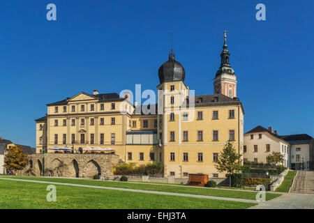 The Lower Castle is situated on the banks of the White Elster, next to the St. Marys Church, Greiz, Thuringia, Germany, - Stock Photo