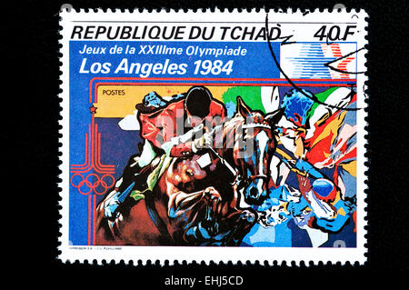 Postal stamp from Republic of CHAD. It was issued to commemorate the 1984 Summer Olympics games in Los Angeles - Stock Photo