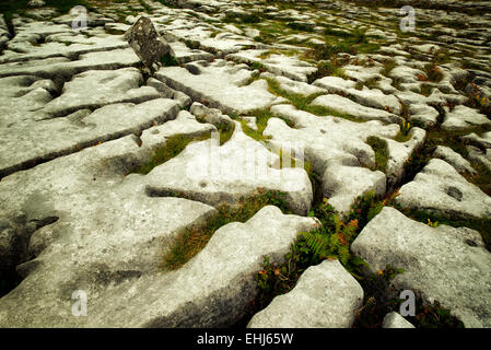 Karst rock formation near the Megalithic tomb called Poulnabrone. The Burren, Ireland - Stock Photo