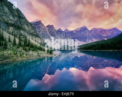 Moraine Lake with sunset clouds. Banff National Park, Canada - Stock Photo