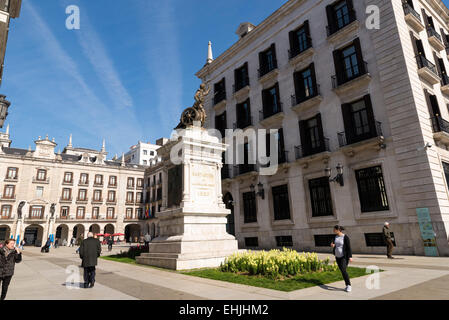 SANTANDER, SPAIN - MARCH 10, 2015: Santander statue erected in memory of Pedro Velarde. The statue is an inscription - Stock Photo
