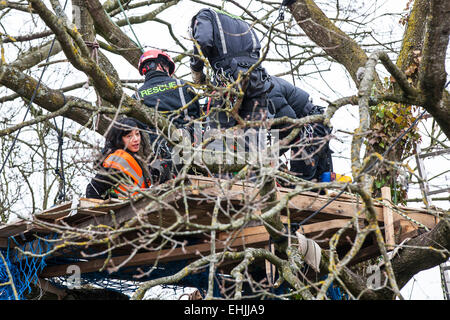 Bristol, UK. 14th Mar, 2015. A protester who is locked onto a treetop platform is unwillingly 'rescued' by specialist - Stock Photo