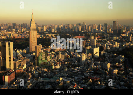 Skyline of of Shinjuku in Tokyo with NTT Docomo building under afternoon sunlight. Tokyo. Japan - Stock Photo