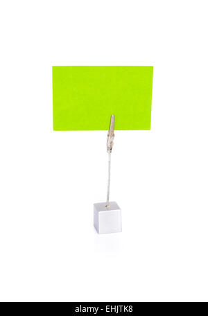 Blank business card in holder on white - Stock Photo