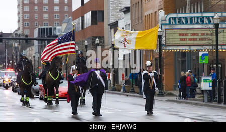 Knights of Columbus John A. Mueller Lexington Blue Grass Council 762 Color Corps members pass the historic Kentucky - Stock Photo