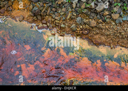 Polluted water coming out of a closed mine in Rosia Montana Romania - Stock Photo
