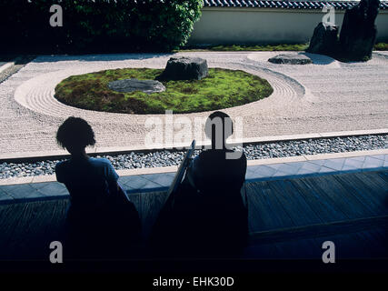 The simple garden at the Ryogen-in sub temple at the Daitoku-ji complex provides visitors with a sense of the Zen - Stock Photo