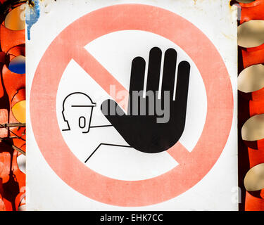 No entry sign, this is italian sign, No entry for people. - Stock Photo