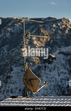 A nice view of Satellite dish and aerial antenna. - Stock Photo