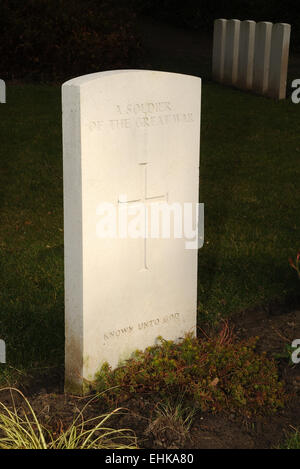 The stone marking the grave on one of the many thousands of unknown warriors who fell during the Great War WW1. - Stock Photo
