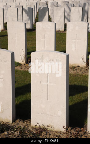 The stone marking the common grave on four of the many thousands of unknown warriors who fell during the Great War - Stock Photo