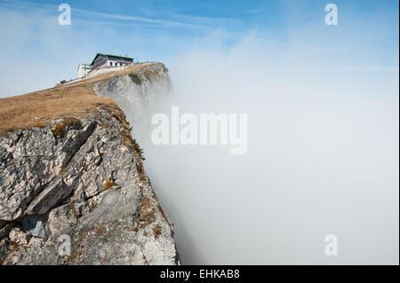 Top of Schafberg in the fog, Wolfgangsee region, Upper Austria, Salzkammergut, Austrian lake region, Austria - Stock Photo