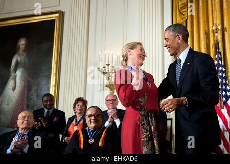 US President Barack Obama presents the Presidential Medal of Freedom to actress Meryl Streep during a ceremony in - Stock Photo