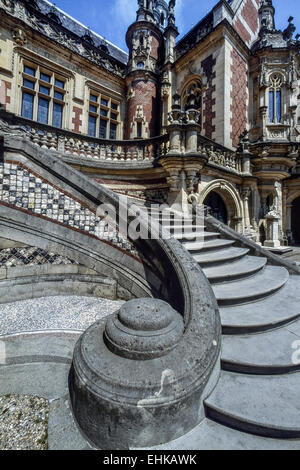Stairs leading up to the Palais Bénédictine, Fecamp. Normandy. France - Stock Photo