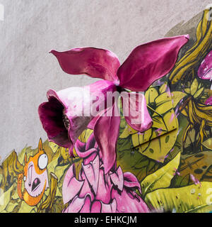 Berlin Street art and Graffiti, giant pink 3-D flower colourful floral urban mural art, Maybachufer, Berlin - Stock Photo