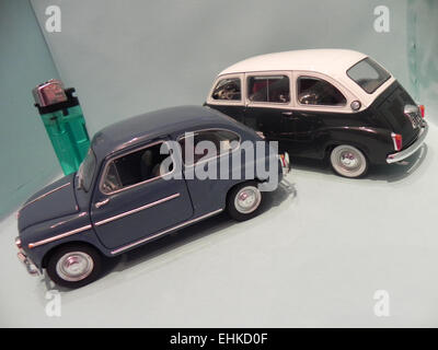 My miniature of an old Fiat 600 together its sister Fiat 600 Multipla, two  mythical cars produced in Italy during - Stock Photo
