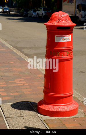 Old red postbox in the Rocks area Sydney, Australia - Stock Photo
