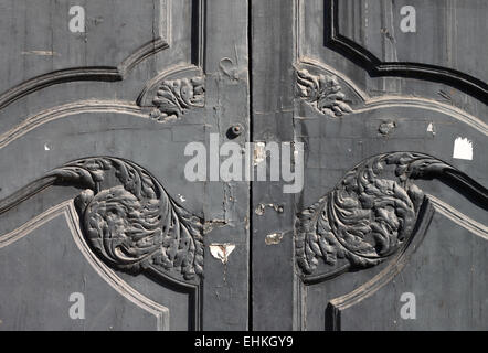 Detail of old wooden doors of government building in Barcelona - Stock Photo