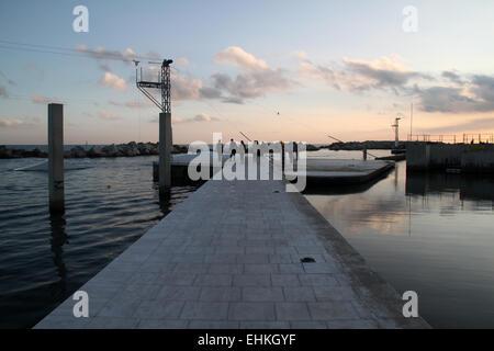 Walkway in sea at marina of Diagonal Mar i Fòrum, Barcelona - Stock Photo