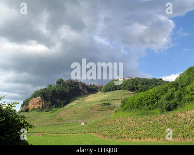 Village of Chateau-Chalon and its vineyards in Jura, Franche-Comte, France - Stock Photo