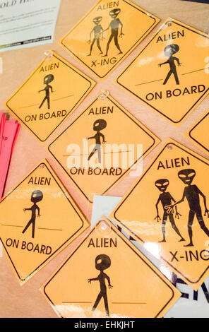LAS VEGAS, NV – MARCH 15: Alien merchandise at X-Files convention in Las Vegas, Nevada on March 15, 1998. - Stock Photo