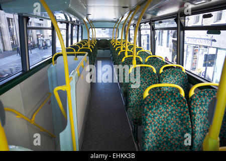 Empty interior of a London bus - Stock Photo