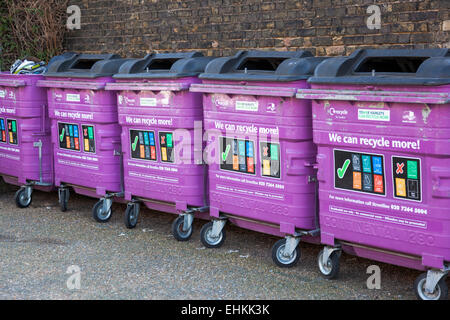 Mixed recycling bins in Limehouse, Tower Hamlets, London - Stock Photo