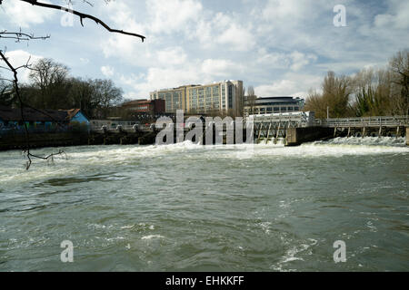 The Weir across the River Thames at Reading - Stock Photo