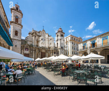 Havana,Cuba. Cafe in front of the Cathedral of The Virgin Mary of the Immaculate Conception, Plaza de la Catedral, - Stock Photo