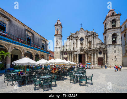Havana Cathedral. Cafe in front of the Cathedral of The Virgin Mary of the Immaculate Conception, Plaza de la Catedral, - Stock Photo
