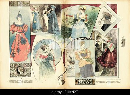 Victorian woman fashion colour illustration circa 1895. Double page spread in German fashion magazine Wiener Mode. - Stock Photo