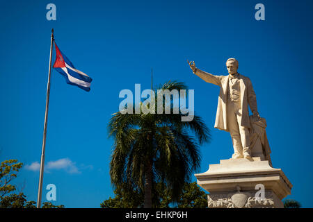 Jose Marti and Cuban flag, Cienfuegos, Cuba - Stock Photo
