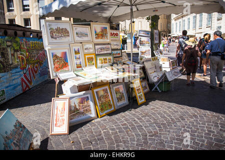 tourists looking at painting artwork,  Avignon,  Vaucluse Provence-Alpes-Cote d'Azur France, Europe - Stock Photo