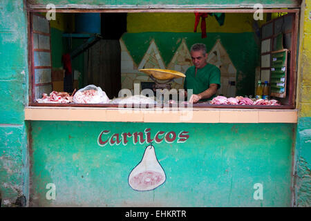Butcher's window in Havana, Cuba - Stock Photo
