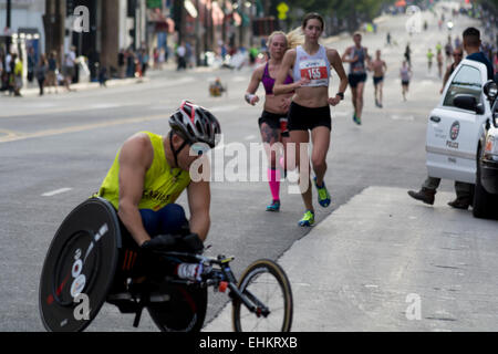 Los Angeles, California, USA. 15th March, 2015.  Runners at mile 11 of the LA Marathon. - Stock Photo