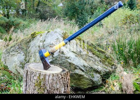 An axe on a wooden block