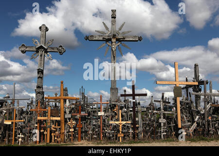 Wooden crosses at the Hill of Crosses, the most important Lithuanian Catholic pilgrimage site, near Siauliai, Lithuania. - Stock Photo