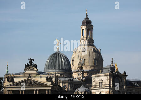 Domes of the Church of Our Lady (Frauenkirche) and the Academy of Fine Arts in Dresden, Saxony, Germany. - Stock Photo