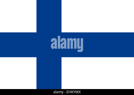 National flag of the Republic of Finland. - Stock Photo