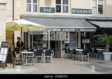 terrace seating at restaurant in place saint pierre bordeaux stock photo royalty free image. Black Bedroom Furniture Sets. Home Design Ideas