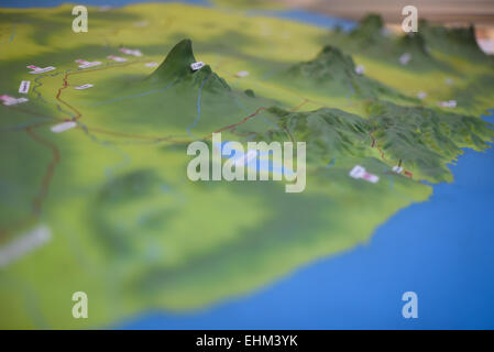 3-D projection model of Central and East Java topographical landscape at Geology Museum, Bandung, Indonesia. - Stock Photo