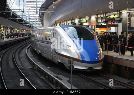 March 14, 2015, Tokyo, Japan - The new Hokuriku Shinkansen bullet train is seen at Tokyo Station on March 14, 2015 - Stock Photo
