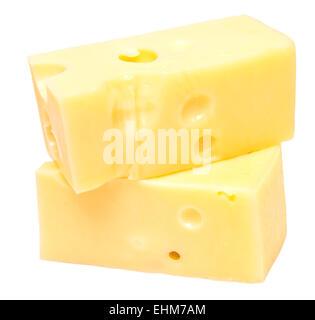 cheese pieces on white background - Stock Photo